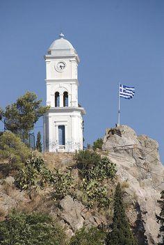 Clock tower in Poros island, Argosaronic gulf, near Athens, Attica, Greece Poros Greece, Attica Greece, Zorba The Greek, Paros Island, World Traveler, Greek Islands, Athens, Places Ive Been, Places To Visit