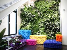 In the corner of the office, a living plant wall stretches up two floors. The area has several colorful poufs to lounge on.