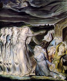 The Parable of the Wise and Foolish Virgins by William Blake, Tate Gallery. Claude Monet, Harry Clarke, William Blake Art, Visiting Teaching Message, Kay Nielsen, Tate Gallery, Art Database, English Poets, Great Artists