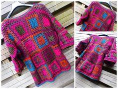 Crochet, Granny Squares Sweater, free pattern