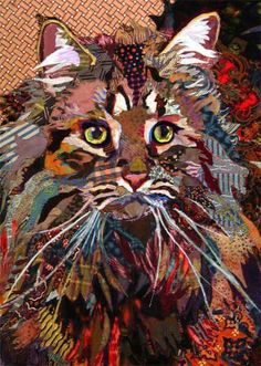 just beautiful cat quilt fabric art. reminds me of Gypsy. Dog Quilts, Cat Quilt, Animal Quilts, Gatos Cats, Landscape Quilts, Thread Painting, Applique Quilts, Fabric Art, Collage Art