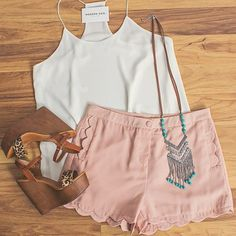 White Tank and Pink Shorts with Brown Wedges and Silver Chevron Fringe Necklace