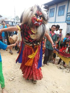 Traditional Culture in Newar Society,- 'Lakhe Nach' a devil dance being performed during indra-jatra.