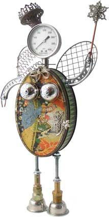 "Name: Fairy Botmother 5.0  D.O.B.: 10/30/10  Height: 18""  Principal Components: Candy tin, pressure gauge, oil lamp burner, wire whisks, erector set girders, tea balls, pins, hydraulic fittings"