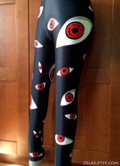Ruby Red Eyes Black Leggings by zelas on Etsy