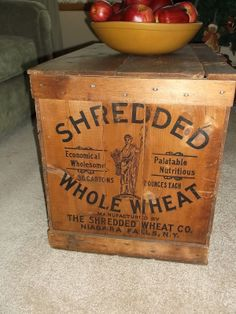 Antique Wooden Shredded Whole Wheat Crate/box Rare With Wood Lid