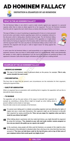 Ad Hominem Fallacy English Writing, English Grammar, Writing A Book, English Language, Esl Lessons, English Lessons, English Teaching Resources, Teaching Ideas, Fallacy Examples