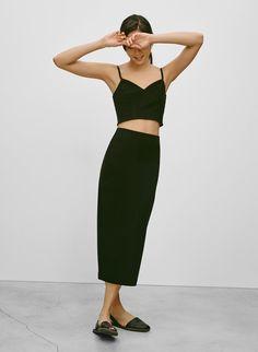 Babaton Johan Skirt in Black Monochrome Outfit, Monochrome Fashion, Fashion Wear, Fashion Outfits, All Black Outfit, Black Outfits, Leather Mini Skirts, Leather Skirt, Spring Summer Fashion