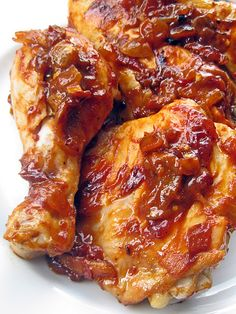 Caramelized Chipotle Chicken -  These are tender juicy chicken pieces smothered in a caramelized chipotle sauce. They are finger-lickin', bone-suckin', spicy-sweet delicious : ]