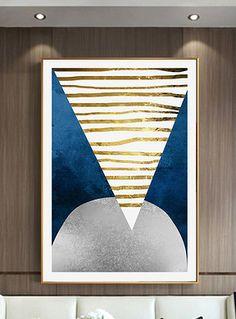 金色客厅现代北欧风格蓝色几何玄关装饰画