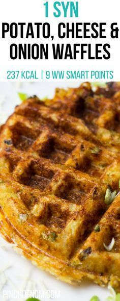 1 Syn Potato, Cheese and Onion Waffles | Pinch Of Nom Slimming World Recipes 237 kcal | 1 Syn | 9 Weight Watchers Smart Points