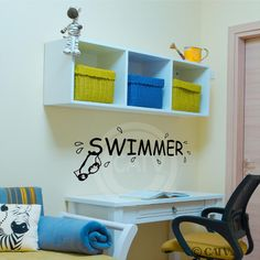 Swimmer Decal wall saying vinyl lettering art decal quote sticker home decal Measures H x W Comes with easy to apply instructions Can be applied to most walls including textured Can be removed without damaging walls High end decorating on a budget Wall Stickers Murals, Wall Decal Sticker, Wall Quotes, Wall Sayings, Kids Bedroom, Bedroom Ideas, Metallic Colors, Vinyl Lettering, Cool Lighting