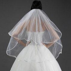 Sale 22% (3.8$) - White Wedding Bridal Veils 2 Tier Satin Edged Fixed Comb