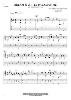 Dream a Little Dream of Me sheet music by Laura Fygi. From album Introducing (1991). Part: Notes and tablature for guitar.