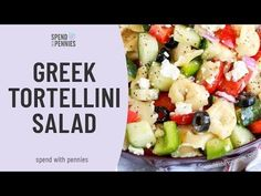 Greek Tortellini Salad with cheese-filled tortellini, bell peppers, cucumbers and juicy tomatoes, topped with loads of feta cheese and greek dressing! Vegetarian Lunch, Vegetarian Recipes, Cooking Recipes, Healthy Recipes, Greek Cheese, Pasta Salad With Tortellini, Main Dish Salads, Party Dishes, Soup And Salad