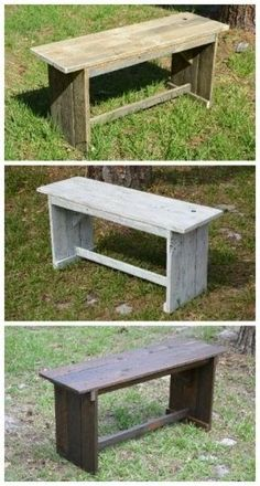 Pallet Furniture Projects Rustic Benches From Reclaimed Pallets - I made these benches with a rustic look from recycled pallets to be light weight and yet sturdy. Pallet Crafts, Diy Pallet Projects, Furniture Projects, Woodworking Projects, Wood Crafts, Fine Woodworking, Geek Furniture, Woodworking Beginner, Woodworking Organization