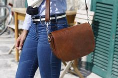 Floto Roma Saddle Bag in Full Grain Calfskin Leather.  Handmade in Italy.