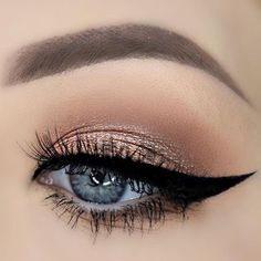 Makeup - Brown, Orange & Shimmery Gold Eyeshadow with Black Winged Cat-eye Eyeliner