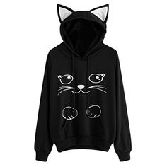 93bf1369140 Hunputa Womens Cute Cat Ear Hood Cat Printed Long Sleeve Hoodie Sweatshirt  Hooded Pullover Tops Blouse