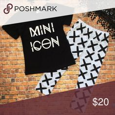 Boutique Toddler Girl MNI ICON 2pc Outfit Trendy 2 piece outfit with short sleeve black top with white MINI ICON  printed on front. White leggings with black X pattern. Bundle items to save $$$. Thanks! Matching Sets