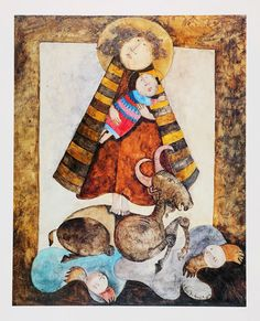 MARY and BABY JESUS - Graciela Rodo Boulanger - Collectible Fine Art Lithograph also featuring Angels and Sacrificial Lamb - at KrissesKorner on Etsy