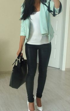 black leather leggings, white undershirt, blue blazer, white heels.