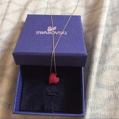 Swavorski red heart pendant necklace Worn twice, beautiful necklace Swarovski Jewelry Necklaces