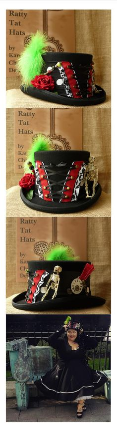 A corsetted Steampiunk top hat complete with aged skeleton, hatpins, antique watch parts and feathers. The Lynne Zombie, a custom make for a fabulous tattooed Rockabilly model.