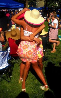 Mimosas in Vera Bradley cups, big hats and Lilly Pulitzer dresses. TSM.