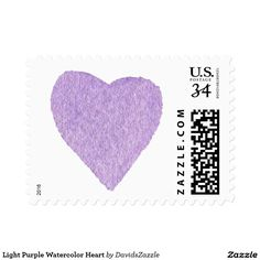 Light Purple Watercolor Heart Stamp  Available in three sizes and three rates!  #stamp #postage #post #mail #letter #united #states #postal #service #friend #family #mailing #send #sent #service #greeting #card #heart #love #emotion #relationship #feeling #friendship #friend #family #meaning #meaningful #water #color #watercolor #cute #pretty