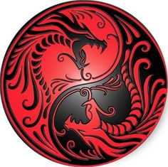 Yin Yang Dragons, red and black Round Sticker - Custom Stickers tattoos male tattoos band tattoos men tattoos forearm American Traditional Rose, Traditional Roses, Arte Yin Yang, Yin Yang Art, Red Dragon Tattoo, Dragon Sleeve Tattoos, Tribal Dragon Tattoos, Dragon Yin Yang Tattoo, Cardinal Tattoo
