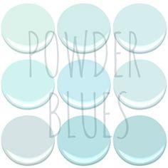 NOW TRENDING – POWDER BLUES - BENJAMIN MOORE POWDER BLUES – BLUE BONNET, CLEAR SKIES, ICY BLUE, ICY MOON DROPS, LIGHT BLUE, MORNING SKY BLUE, OCEAN AIR, TEAR DROP BLUE AND SKYSCRAPER