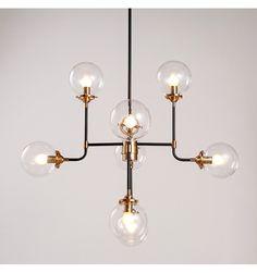 Industriële hanglamp 8 armen helder glas - Zenith