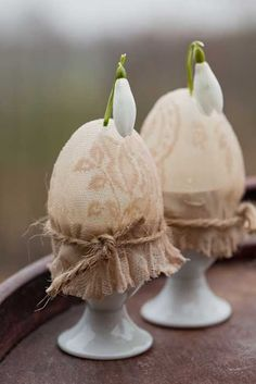 ♥ the idea of a lace-covered egg tied with jute