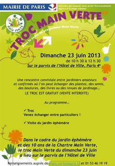Troc Main Verte le dimanche 23 juin 2013 http://www.pariscotejardin.fr/2013/06/troc-main-verte-le-dimanche-23-juin-2013/
