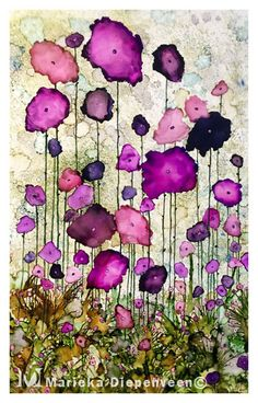 Purple Flowers painted in Alcohol Ink by Marieka Diepenveen.