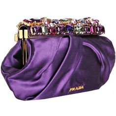 prada purple silk clutch bag