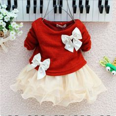 Very cute red dress for newborn girls with ivory bow and white tulle. Long sleeve cotton material. Perfect for Christmas, baby shower everyday outfit, photography props, and other purposes. Can be a gift to your grandchild. We supply many baby dresses, Christening dresses, toddlers girls dresses and other newborn babies supply.    Product: tutu dress Color: red Decoration: bow, pearls Sleeve: long Material: cotton Pattern: bows Tips: can be a gift someone special close to your heart   We…