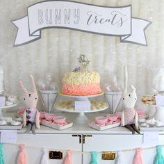 snow bunny themed first birthday party decor