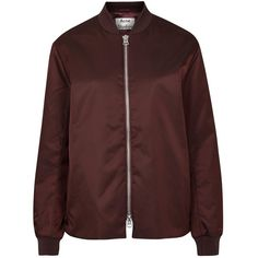 Womens Bomber Jackets Acne Studios Fuel Tech Burgundy Shell Bomber... ($150) ❤ liked on Polyvore featuring outerwear, jackets, coats & jackets, tops, flight jackets, bomber style jacket, burgundy bomber jacket, red zip jacket and acne studios