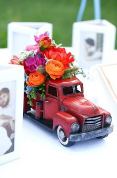 Cute car decor for the table. Go to your local antique store and get some model cars already put together. My favorite local antique mall has so many of them. Vintage Car Decor, Vintage Car Party, Vintage Cars, Car Themed Wedding, Wedding Cars, Car Centerpieces, Birthday Centerpieces, Country Table Centerpieces, Centerpiece Wedding