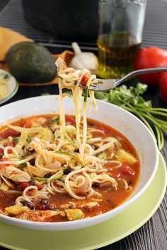 Jalapeno-Lime Chicken, Bean & Avocado Zucchini Noodle Soup (substitute faux chicken for veggie meal or shrimp if you eat it) Veggie Recipes, Healthy Dinner Recipes, Mexican Food Recipes, Soup Recipes, Cooking Recipes, Cooking Ideas, Easy Recipes, Veggetti Recipes, Spiralizer Recipes