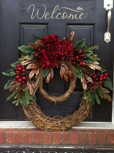 Learn how to make easy and fun DIY dollar store Christmas decorations with this awesome grapevine holiday wreath! You only need a few supplies which you can pick up at your local dollar tree and these will make perfect front porch Christmas decorations Holiday Wreaths, Holiday Crafts, Holiday Decor, Winter Wreaths, Christmas Wreaths For Front Door, Double Door Wreaths, Spring Wreaths, Summer Wreath, Wreath Crafts
