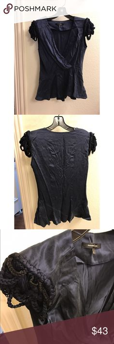 Worn once, 100% silk blouse Navy blue blouse with beautiful shoulder design Nanette Lepore Tops Blouses