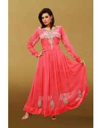 Peach Ankle Length Anarkali Chiffon Dress