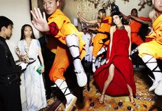 "Mario Testino, ""Karlie Kloss, Bao Bao Wan, and Shaolin Monks, Beijing,"" 2011. #photography"