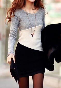 Grey Black White Color Block Print Long Sleeve Bodycon Loose-fitting Knit Sweet Mini Dress #Grey #Black #White #Color #Block #Long #Sleeve #Dress #Fashion