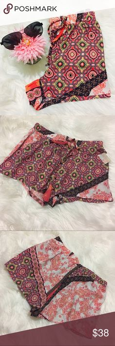 Summer Printed Shorts NWT! With pockets! Elastic waistband with cute decorative drawstring! ❌Trades Shorts