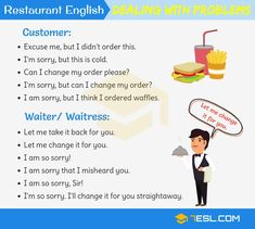 Learn Useful Restaurant English for Restaurant Staff and Common Expressions Used at a Restaurant. We've divided the lesson into six sections: making a reservati English Teaching Materials, Teaching English Grammar, English Language Learning, English Writing, English Vocabulary, Learn English For Free, Learn English Speaking, Learn English Words, English Lessons