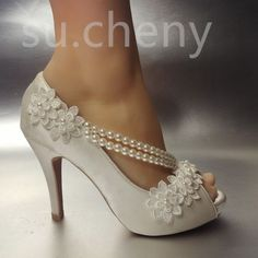 8 10 cm heel Pearl white ivory silk lace open toe Wedding shoes Bride size bace3a6d70